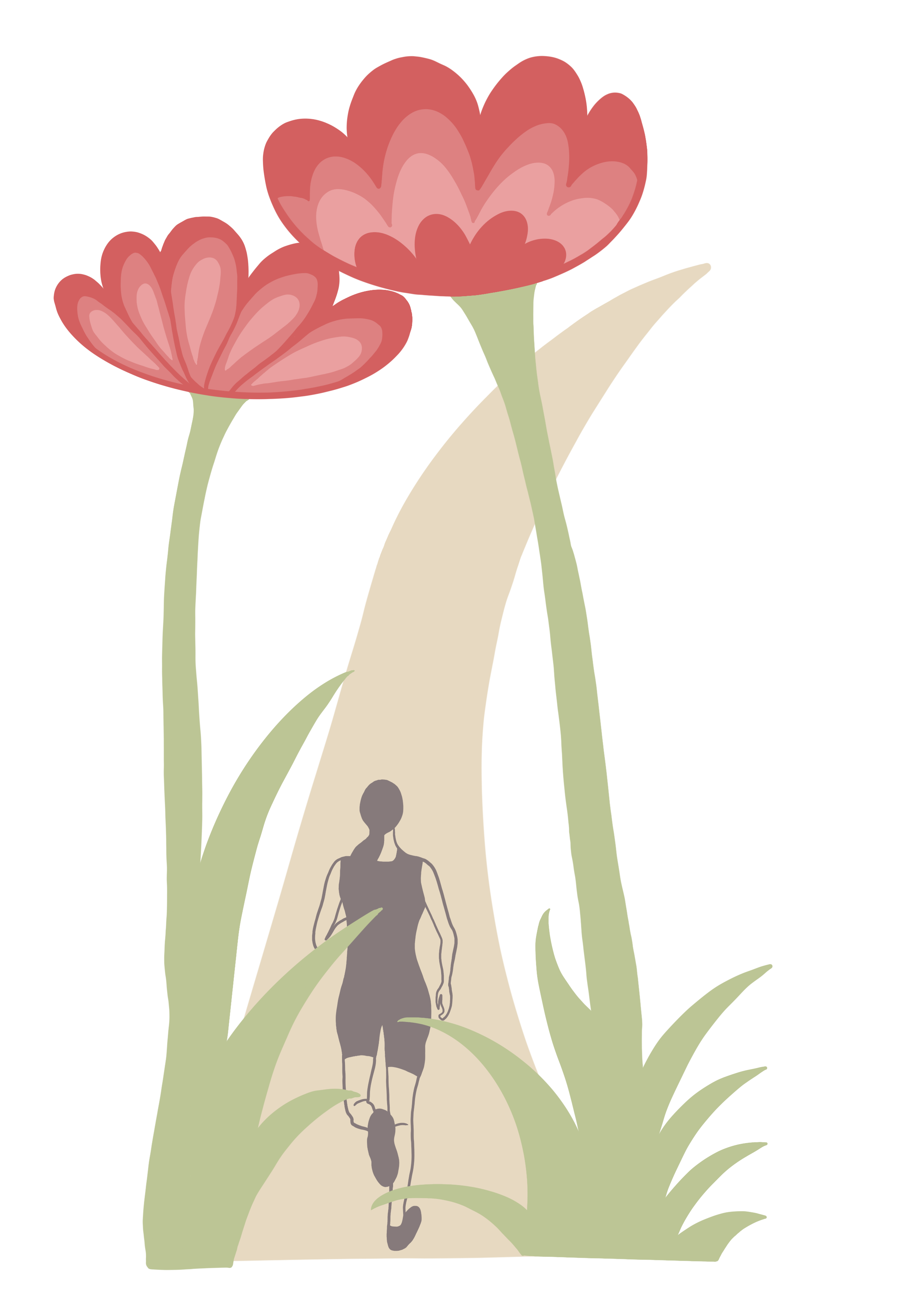 an illustration of a runner on a path bordered by large pink flowers