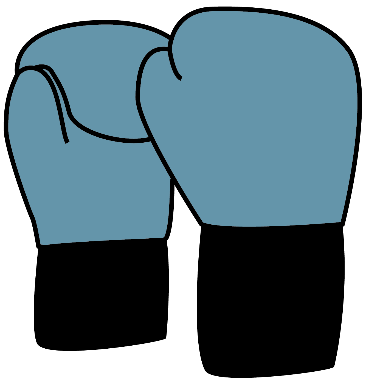 Illustration of blue boxing gloves.