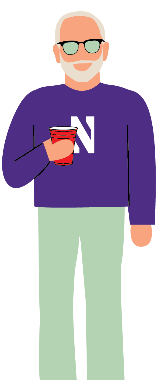 Illustration of President Morton Shapiro with a Northwestern sweatshirt, sunglasses, and holding a red solo cup.