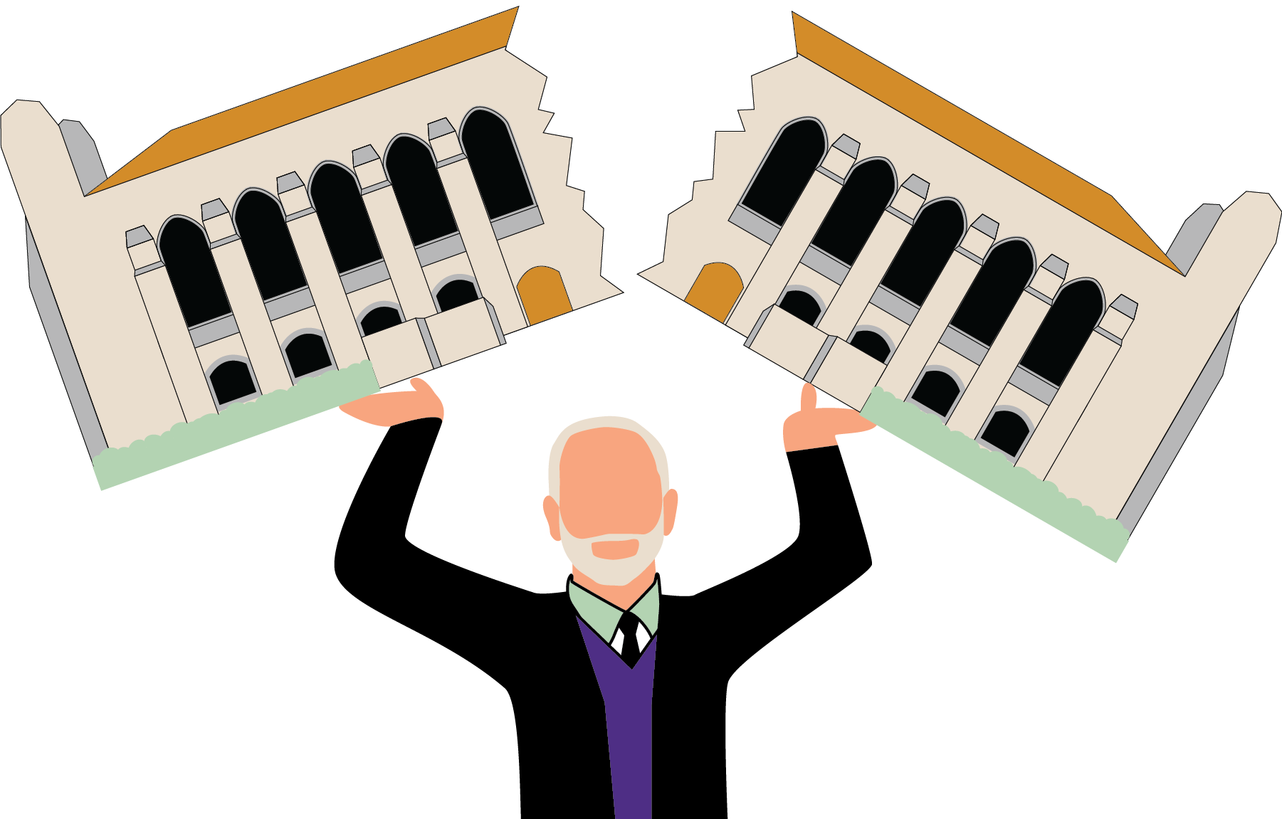 Illustration of President Morton Schapiro breaking Deering Library into two pieces above his head.