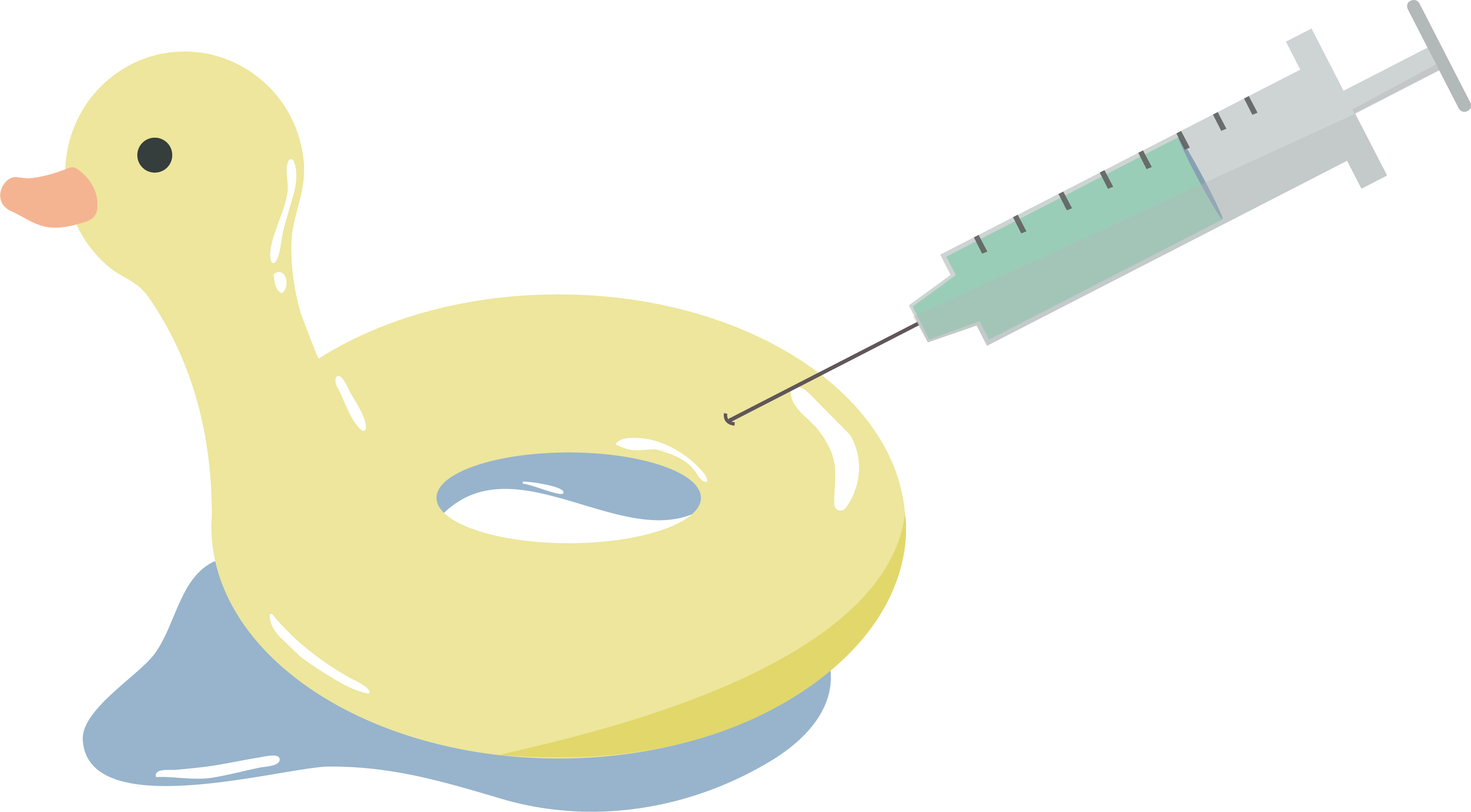 An illustration of an inflatable duck being filled by a vaccine syringe