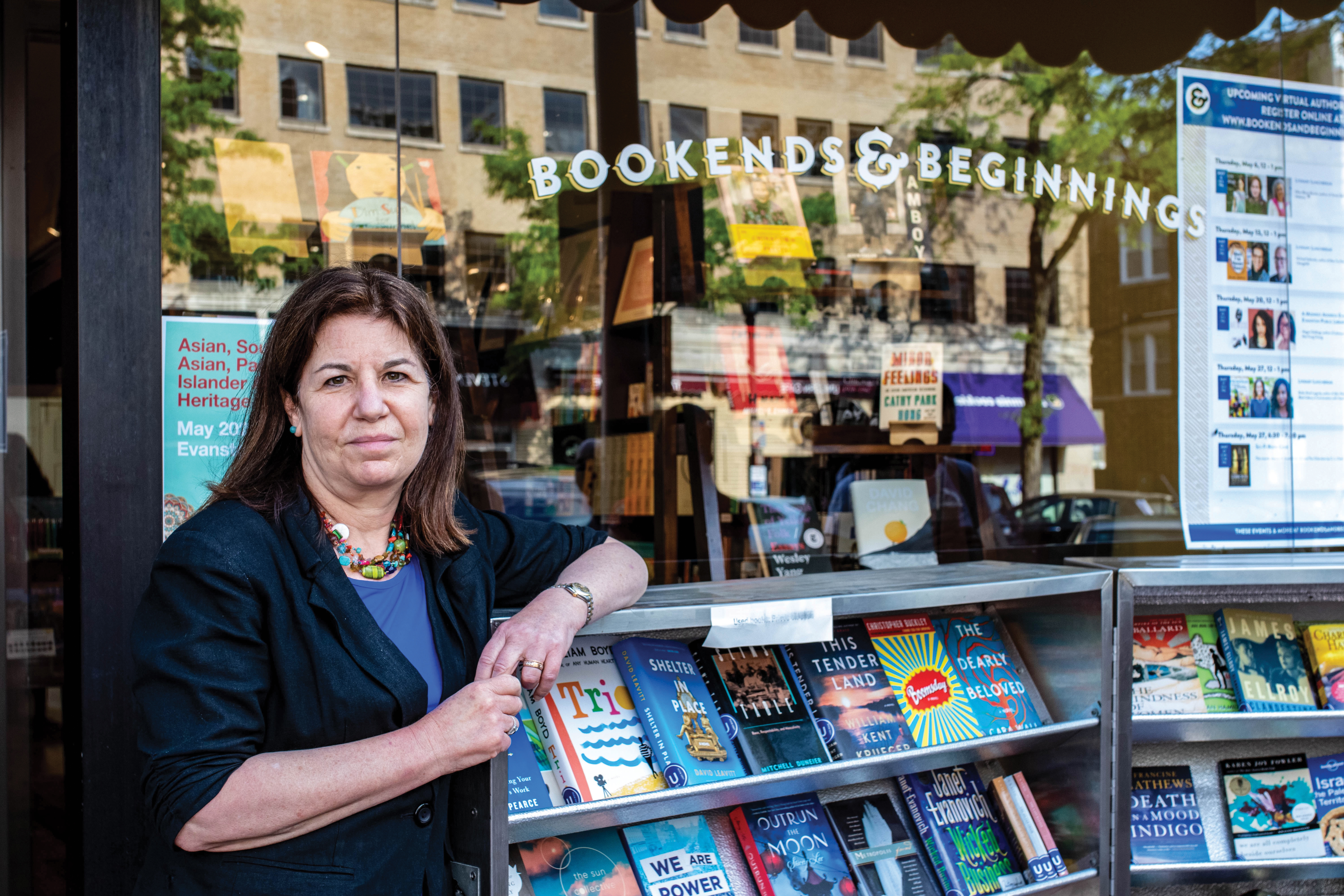 Nina Barrett, owner of Bookends & Beginnings, outside of the bookstore on May 22.