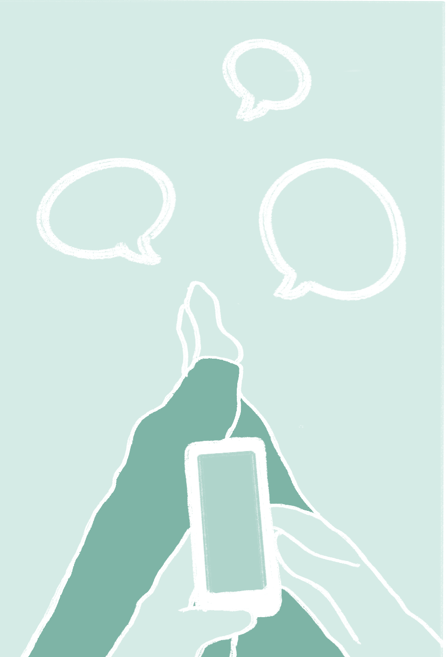 illustration of a phone with messages floating out of it