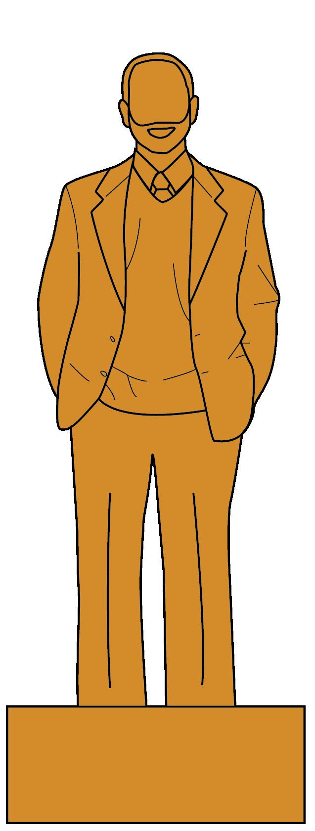 Illustration of a statue of President Morton Schapiro.