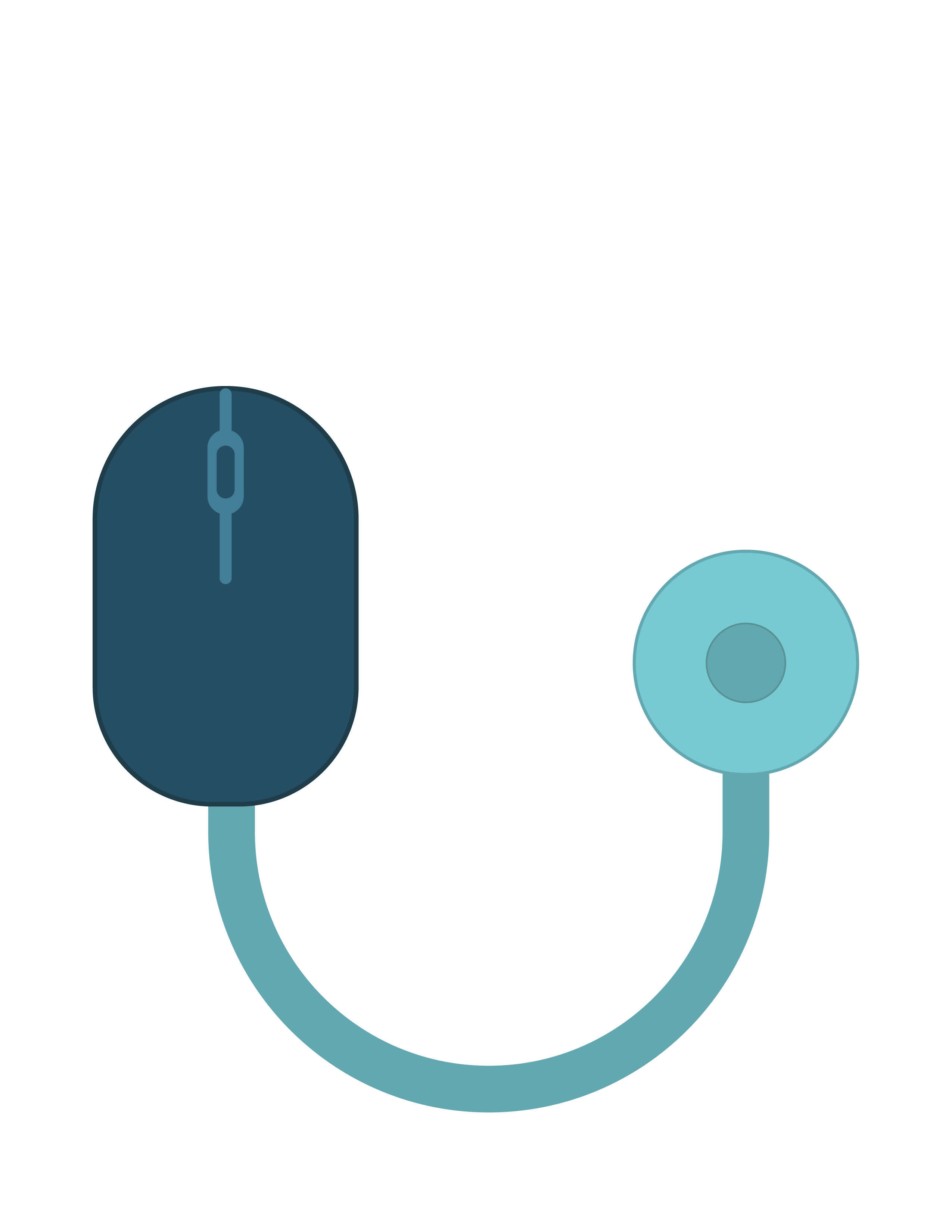 An illustration of a stethoscope with a computer mouse attached to one end