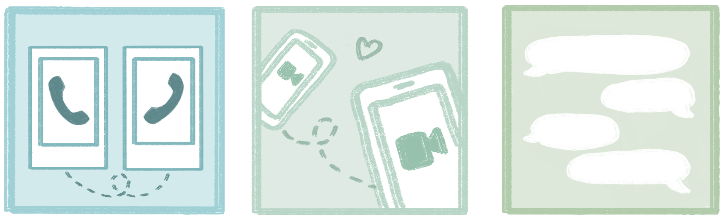 three squares featuring designs of smartphones with phone and video icons, as well as speech bubbles